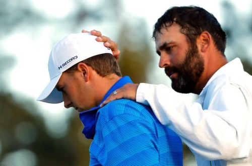Jordon Speith painful image on 18th with Caddy